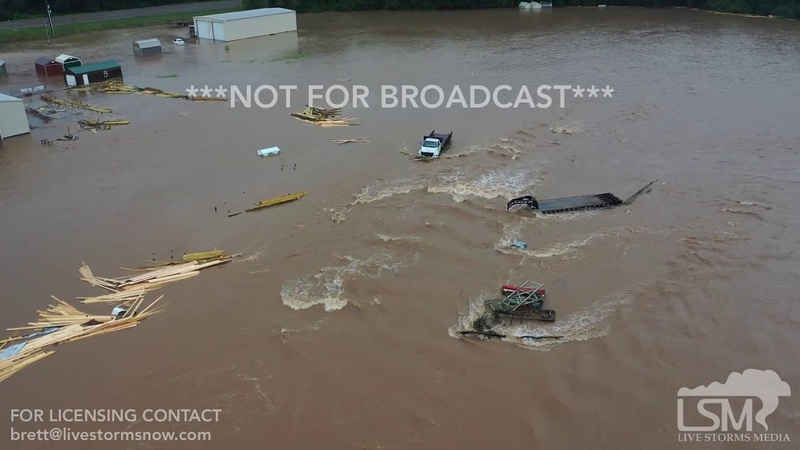 7-16-2019 Nashville, Ar Catastrophic flash flood emergency, people stranded, cars sunk drone