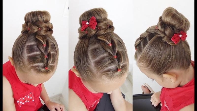 Penteado Infantil Trança falsa com ligas e coque