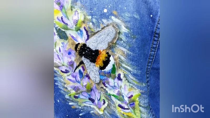 Нашивка на джинсовку Шмель