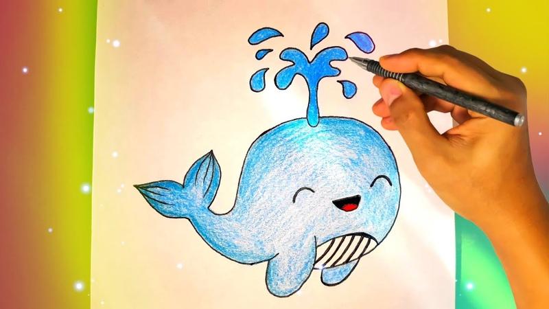 Как нарисовать милого КИТА Лёгкие рисунки для срисовки №434