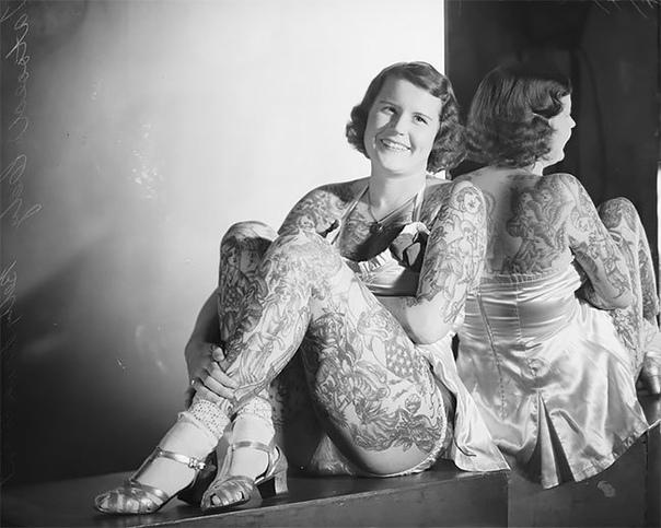«Татуированная Венера» Бетти Бродбент, американка, награжденная прозвищем «Татуированная Венера», отправилась в Сидней из Штатов в 1938 году. В далекую Австралию женщину пригласил Артур