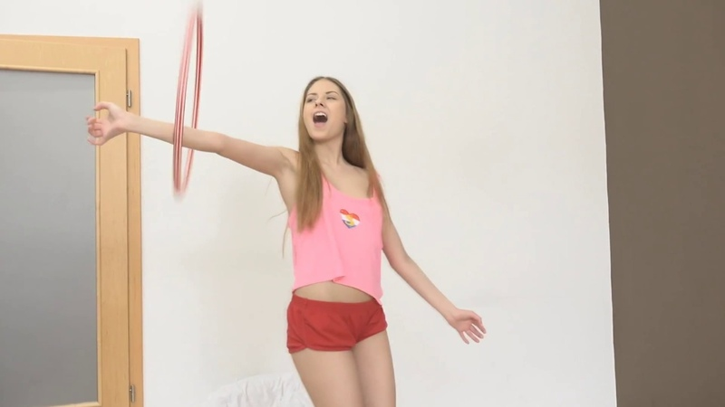 Hot Yoga Girl Rebecca Volpetti plays with Hula Hoop
