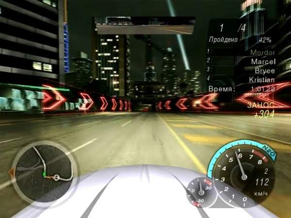 NFS Underground 2 - Ford Mustang GT (Максимальная) - Угол Бродвея и Грэнвил, назад (Спринт)