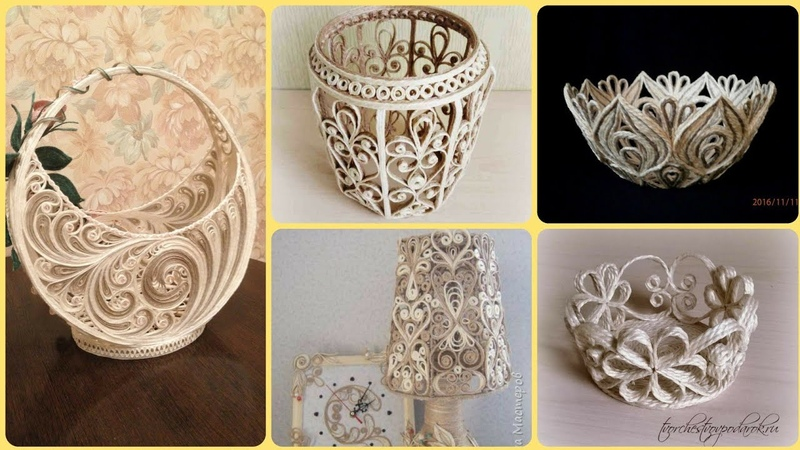 NEW QUILLING JUTE CRAFT IDEAS JUTE QUILLING BASKETS JUTE LAMP JUTE DIY CRAFT IDEAS