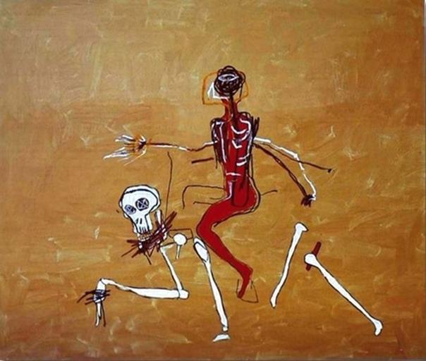 « одного шедевра». «Поездка со смертью», Жан-Мишель Баския 1988г. Акрил. Размер: 249×289,5 см. Жан-Мишель Баския-уличный художник, ученик и последователь Уорхолла. «Riding With Death» -