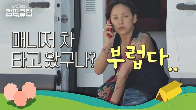 매니저 차 타고 온 동생들이 부러운 효리(Lee Hyo lee) (엇 끊어 버렸어..) 캠핑클럽(Camping club) 1회