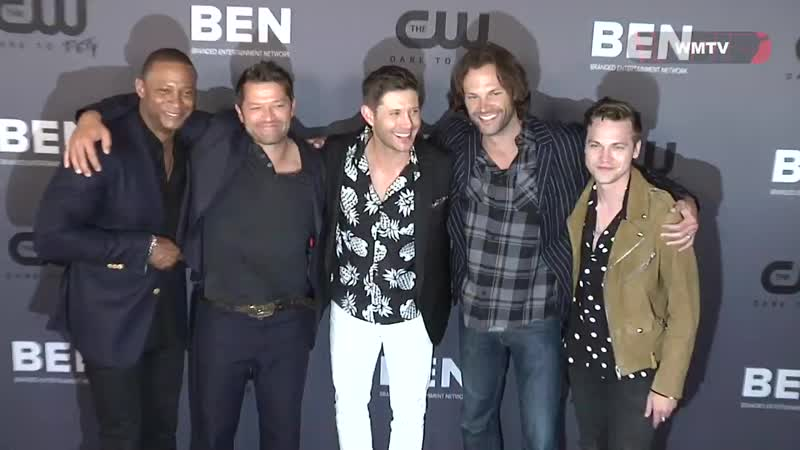 Jensen Ackles, Jared Padalecki and Stephen Amell arrive at The CW party