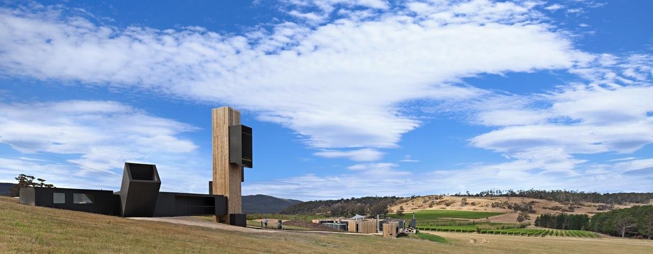 cumulus studio's vineyard observatory frames views of australian peninsula