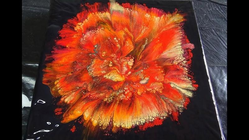 125 Spiral flower dip in reds