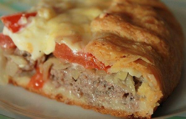 Открытый вкусный мясной пирог!