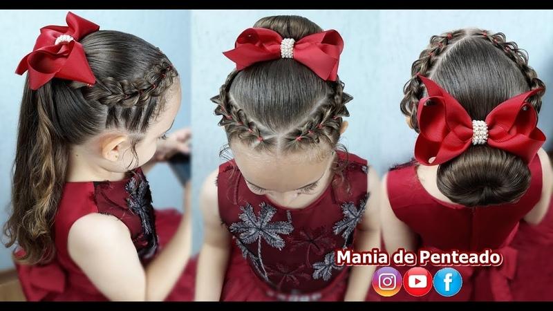 Penteado Infantil Fácil com Trança Falsa, Coque ou Amarração para Festas ou Formatura🌹