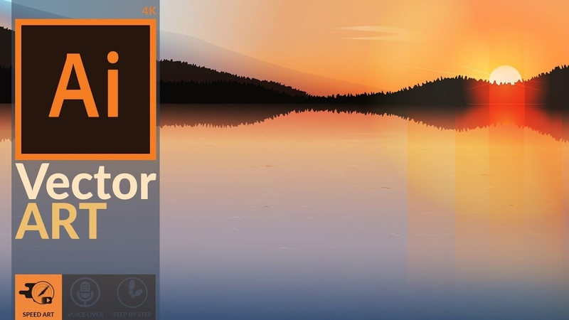 Making a Sunset Scenery in Adobe Illustrator CC   Speed Art