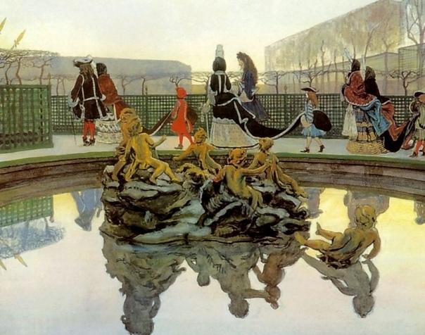 « одного шедевра». «Прогулка короля», Александр Николаевич Бенуа 1906г. Бумага на холсте, акварель, гуашь, бронзовая краска, серебряная краска, графитный карандаш, перо, кисть. Размер: 48x62 см.