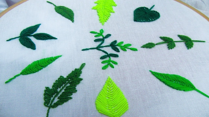 Hand Embroidery for Beginner; 10 type of leaves, Leaf Stitch