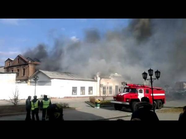 Уссурийск . горит заброшенная типография и магазин Военная книга