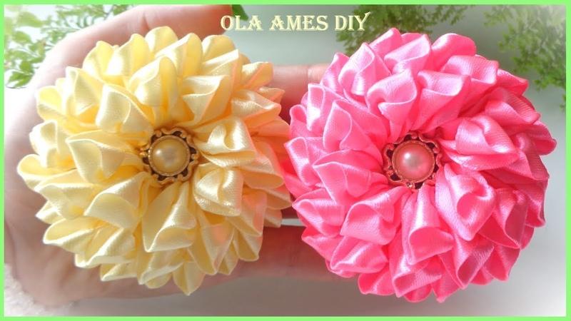 КанзашиПышные цветы из лентDIY Ribbon FlowersFlores de fitaOla ameS DIY