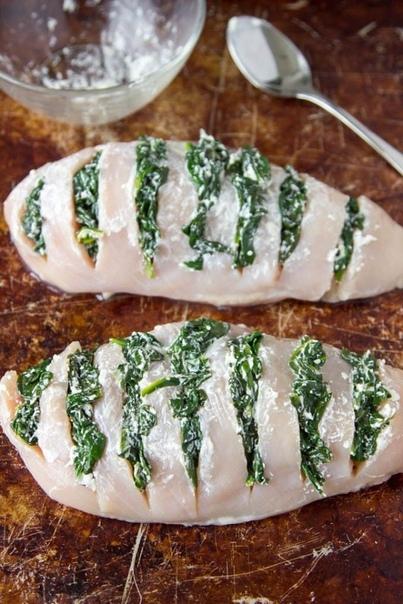 Куриные грудки со шпинатом.