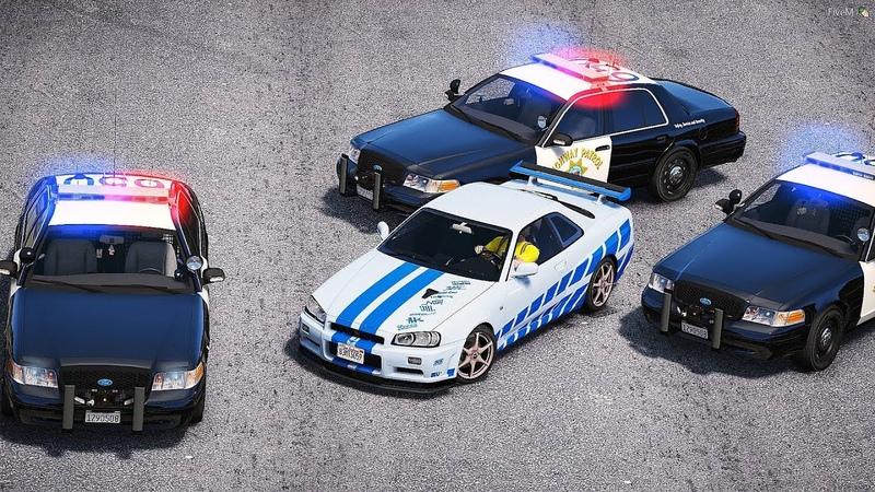 GTA 5 COPS CHASE - NISSAN SKYLINE R34 FAST FURIOUS УХОДИТ ОТ ПОГОНИ! ПОЛИЦЕЙСКИЕ ДОГОНЯЛКИ В ГТА 5!