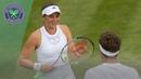 Jelena Ostapenko hits Mixed Doubles partner Robert Lindstedt with serve Wimbledon 2019