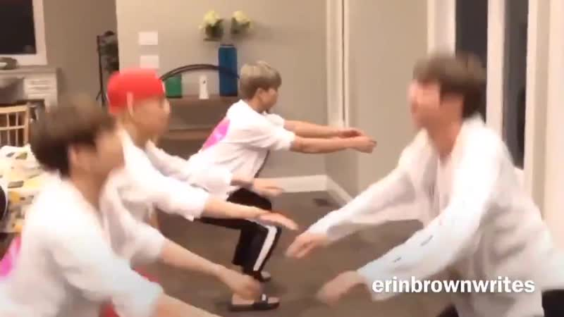 Good morning, here's Kim Namjoon calmly doing squats in the midst of Bangtan workout chaos. - - MGMAVote BTS @BTS_twt - -