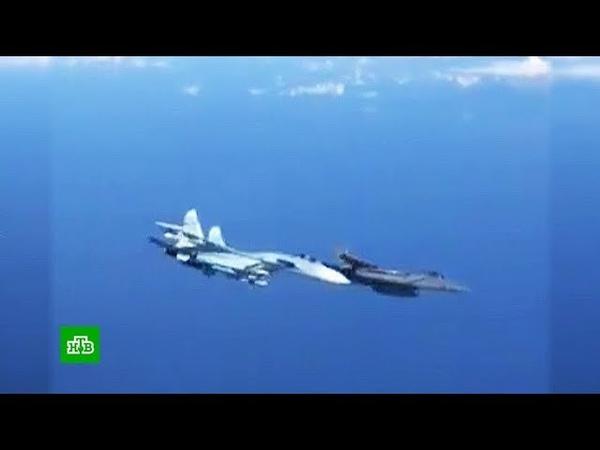 В Сети обсуждают жесткий перехват Су-27 самолета НАТО