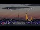 Петропавловская крепость и лучи прожекторов Петербург Футаж