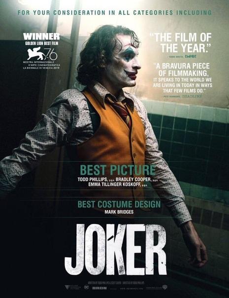 Warner Bros. официально начали кампанию по продвижению «Джокера» на «Оскар» Лента претендует на номинацию сразу во всех основных