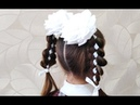😍 Прическа на 1 СЕНТЯБРЯ в ШКОЛУ / коса С ЛЕНТОЙ 😍