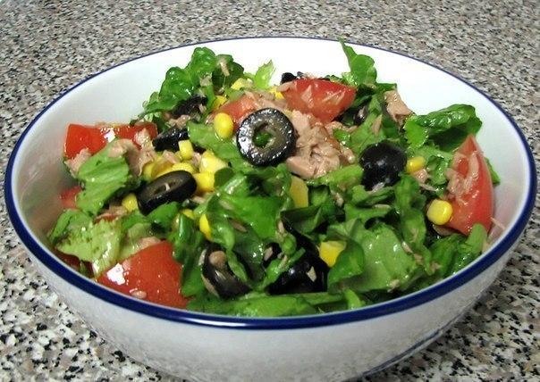 Вкусный зеленый салатик с тунцом!