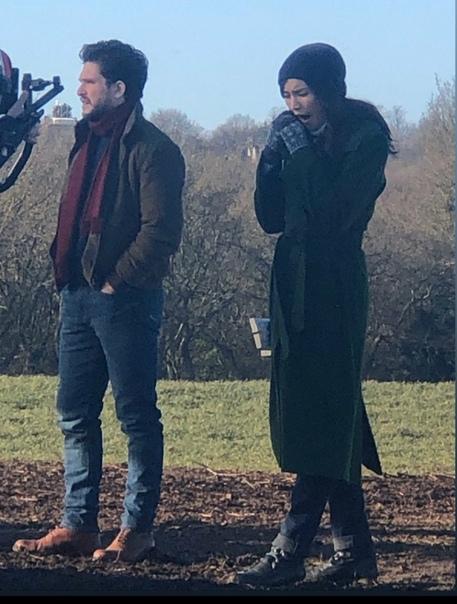 Кит Харрингтон и Джемма Чан на съёмках блокбастера «Вечные» Премьера состоится этой осенью.