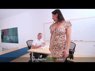 Milf boss gets a huge cock in her big fat ass