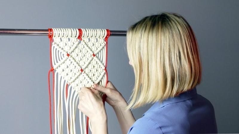 DIY Macramé Diamond Mesh Pattern for Wall Hanging | Home Decor