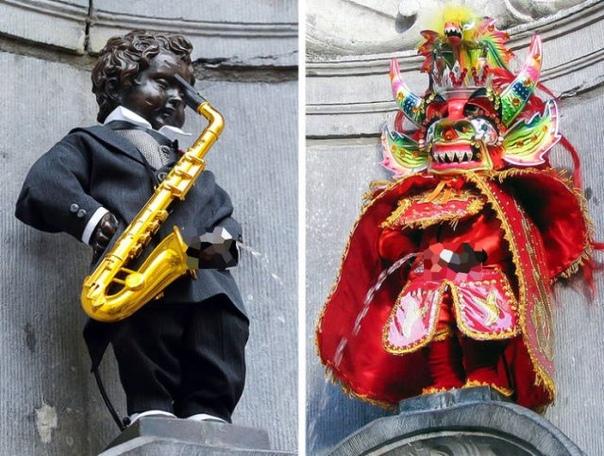 Самый известный символ Брюсселя - Писающий мальчик регулярно облачается в новые наряды