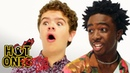 Stranger Things Caleb McLaughlin and Gaten Matarazzo Play Truth or Dab Hot Ones