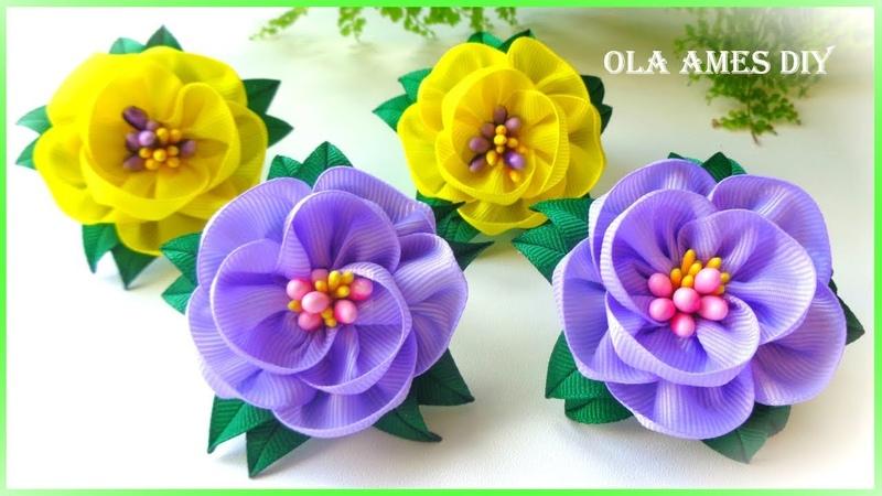 Канзаши/Простые цветы из лент/Ribbon Flowers/DIY Kanzashi/Flor de fita fácil/Ola ameS DIY