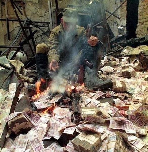 Согреться деньгами... Грозный, Чечня, 1995 год.