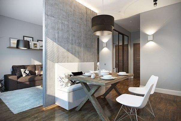 Отличный пример зонирования однокомнатной квартиры, 32 кв.