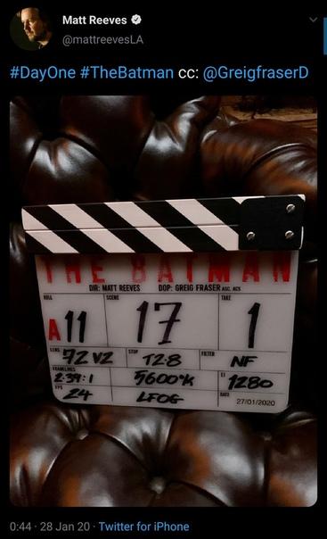 Съёмки «Бэтмена» официально стартовали Об этом объявил режиссер ленты Мэтт Ривз.