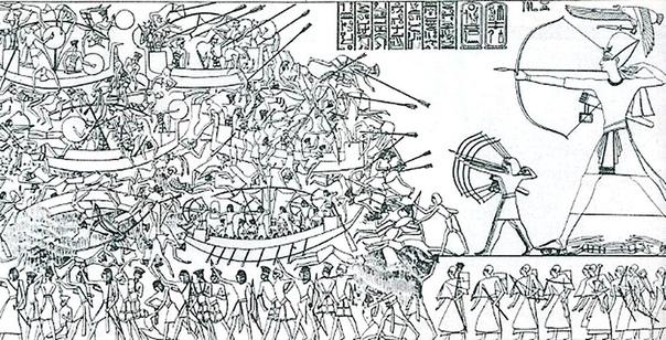 Рамзес III рано встретился с проблемой вторжений, появившейся на пятом году его правления, когда мирная миграция внезапно переросла в нашествие Ливийские племена, кочевники-африканцы из