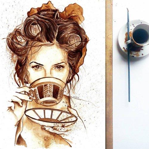 Кофейные рисунки художницы-самоучки Нурии Сальседо Нурия Сальседо (Nuria Salcedo) художница-самоучка, которая с помощью кофе создаёт невероятно детализированные рисунки и портреты знаменитостей.