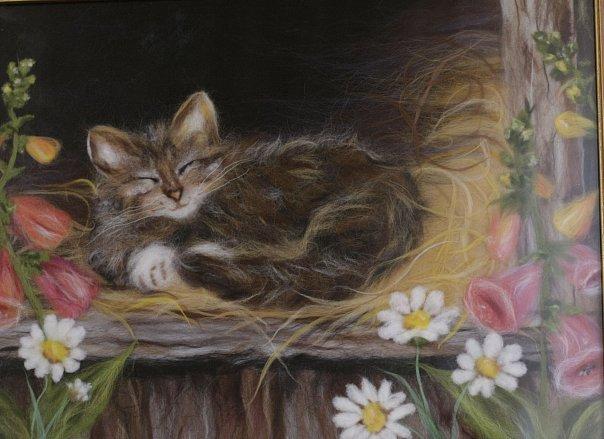 спящая кошка, кошки, живопись шерстью, картинка