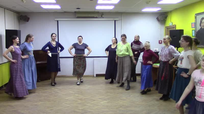 Открытая школа народного танца Группа новичков Урок 2 18 Подготовка к пол вальс повороту Мужская партия Взаимод е в паре