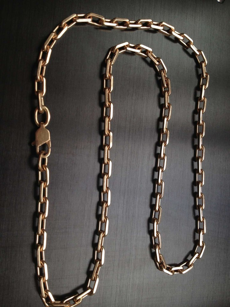 фото золотая цепь якорное плетение
