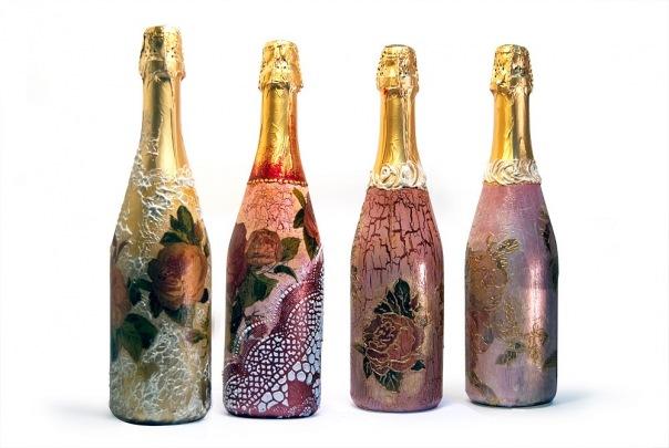 Декорирование бутылок шампанского мастер класс - Master class