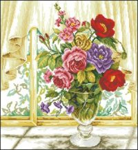 """Схема вышивки  """"Цветы у окна """" ."""