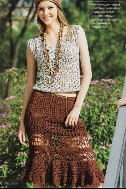 Вязание ажурная летняя юбка