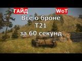 Легкий танк T21. Все о броне T21 за 60 секунд. Зоны пробития T21. Схема бронирования T21.