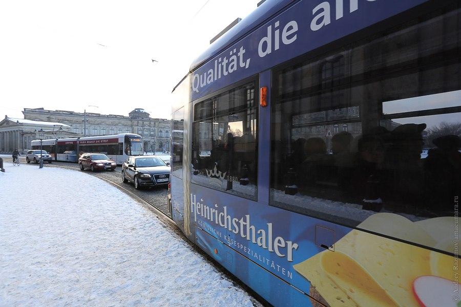 Трамвай в Дрездене Германия