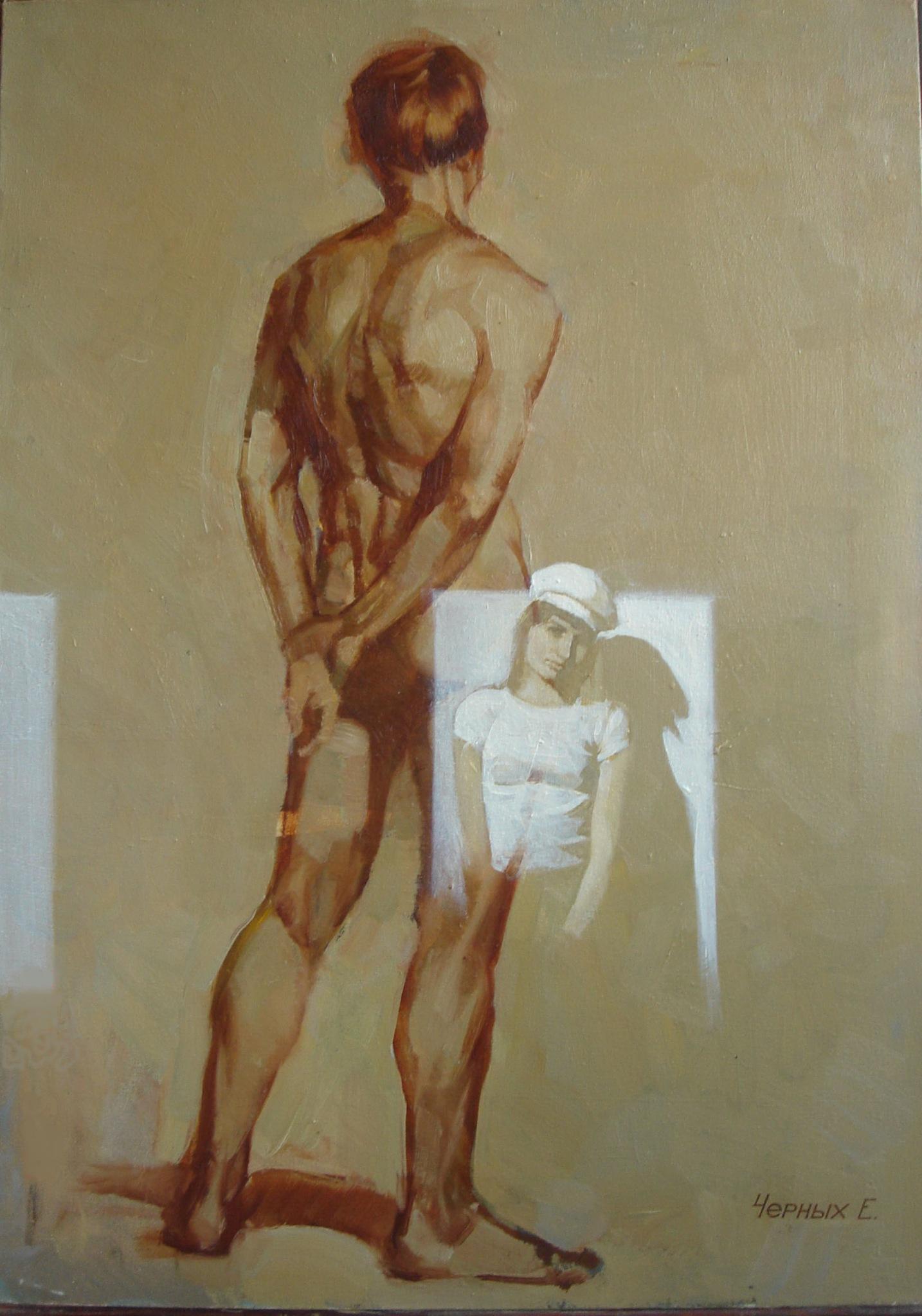 Художницы рисуют голого мужика