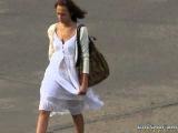 Девушка в белом прозрачном платье / Girl in a white transparent dress - Sexy spycam - 28